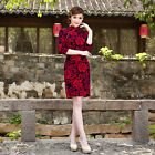 Внешний вид - Traditional Oriental dress Velvet  Chinese Cheongsam Qipao with Peony Flower Red