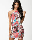 ♚ HONOR GOLD ♚ONE SHOULDER BODYCON BANDAGE CLUB EVENING DATE HOLIDAY PARTY DRESS