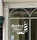 BARBER SHOP SIGN Vinyl Window Sticker Pole Moustache Hair Wall Art