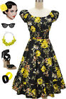 50s Style BLACK & YELLOW ROSE FLORAL PLUS SIZE Peasant On&Off The Shoulder Dress