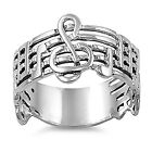 Musicians Silver Contemporary Music Note G-Cleff Ring For Men or Women