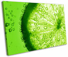 Lime Green Fruit Slice Kitchen Framed Canvas Wall Art Picture Print