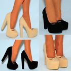 LADIES FAUX SUEDE NUDE BLACK BLUE SLIP ON PLATFORM CHUNKY BLOCK HIGH HEEL SHOES
