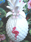 PINK 'FLORIDA' FLAMINGO NECKLACE CHOOSE YOUR CHAIN / ROCKABILLY / KITSCH / RETRO