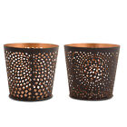 Stylish Black Finish Pattern Metal Home / Christmas Tealight Holder Two Designs