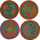 """Elephant Circle Wall Hanging Indian Sequin Tapestry Embroidered 34"""" 86cm Green"""