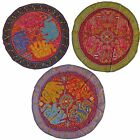 """Elephant Circle Wall Hanging Indian Sequin Tapestry Embroidered 34"""" 86cm Red"""