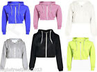 Womens PLAIN CROP HOODIE Zipper Sweatshirt Cosy Hoody Dance Ladies Girls New