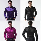 LUXURY Fashion Mens Shirts Silk-Like Satin Dress Shirts Stylish Tops Shirts S~XL