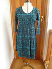 ATMOSPHERE PRIMARK TEAL BLACK GOTHIC PRINT SMOCK TUNIC DRESS 10 12 14 16 18 20