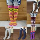 Kids Girls Striped Thigh High Long Over Knee Cat Stripe Print Socks For 1-8Y B65