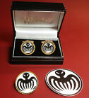 JAMES BOND & SPECTRE` AGENT: GOLD & SILVER PLATED CUFF LINKS & BADGES + STICKER $29.92 CAD