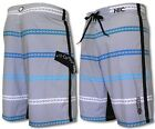 "HIC Grey ""Alewa Stripe"" Mens Fboardshorts, Gray or Black"