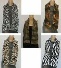 Ladies / Womens Gorgeous Fur Satin Scarf 5 Animal Prints Leopard Dalmation Tiger