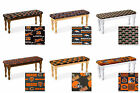 DARK OAK, WHITE OR NATURAL FINISH WOODEN DINING BENCH W NFL THEME SEAT CUSHION