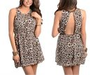 NEW~*SIZE CHOICE* Leopard Print Sleeveless Chiffon Open-Back Bubble Dress: S/M/L