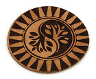 Custom Laser Engraved Leather Round Drink Coasters Spiritual  - Ying Yang Tree