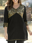 ULLA POPKEN BLACK Precious Metals Seamed Knit Tunic Top Sizes 12/14 to 32/34