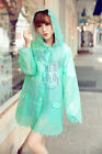 Women Fashion Transparent Lace Print Raincoat Windproof jacket clear rain coat