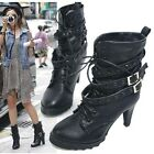 Women Black High Heel Short Ankle Boots Shoes Buckle Laces Up AU All Size F82