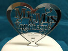 Personalised Mr & Mrs Heart Cake Topper 12.5cm x 12cm - Mirror, Clear or Black