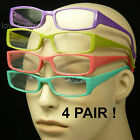 4 PAIR PACK LOT READING GLASSES SPRING HINGE ARM TEMPLE CLEAR LENS NEW LP55