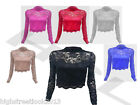 New Women Ladies Floral Long Sleeve Lace Mesh Turtle Polo Neck Crop Top Tshirt