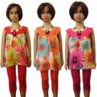 Girls Flower Top/Tunic Dress, Leggings &Necklace 3 Pieces Set/Outfit 3-12yrs #77