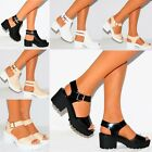 SUMMER CLEATED PLATFORMS CUT OUT STAPPY HEELS SANDALS HIGH ANKLE STRAP PATENT