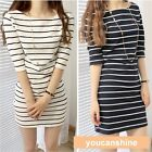 New Women's Summer Fashion Stripe Modal Slim Fitted Tops Shirt Beach Sun Dress S