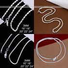 """925 Sterling Silver Plated 3mm Necklace Chains Men Women 16"""",18"""",20"""",22"""",24"""""""