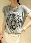 New Women's Loose Casual Batwing Short Sleeve Tiger Printed Tees O-Neck WTS170AU