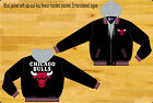 Chicago Bulls Wool w/ Faux Leather Sleeves Reversible Mens Hoodie Jacket JH