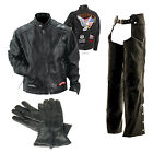 Mens Buffalo Leather Motorcycle Riding Scooter Jacket Chaps & Gloves w/Patches