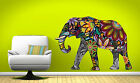LARGE Abstract Elephant Full Colour Wall Sticker Vinyl Decal Wall Art Transfer