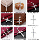 Unisex's Men Cross Silver Plated Zircon Necklace Pendant Chain Jewelry Gift New