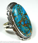 HUGE Handcrafted American Blue Turquoise 925 Sterling Silver Ring Size 7 or 8.5
