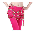 Hot Belly Dance Gold Coin 3 Rows Belt Hip Scarf Skirt Wrap Chain Dancing Costume