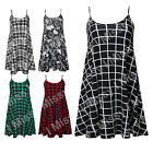 Womens Celeb Sleeveless Grid Print Cami Swing Dress Flared Strappy Long Top 8-22