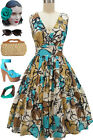 50s Style PINUP Blue & Brown POPPY Florals SURPLICE Bombshell Sun Dress