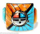 Multicolor Turquoise Inlay 925 Sterling Silver Men's Sunface Ring Size 9 or 11