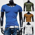 SUMMER Mens Classic Short Sleeve V-Neck T Shirts Size XS S M L LEISURE Tee Top