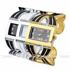 Fashion Womens Square Crystal Rhinestone Bangle Cuff Bracelet Quartz Wrist Watch