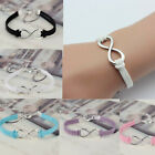 Silver Plated Infinity Lucky 8 Friendship Leather Bracelet Bangle Jewelry Gift