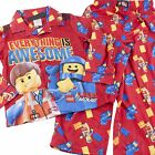 Lego Movie Emmet Fleece Boys Red Pajamas Size 6 10 PJs Everything is Awesome