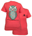 New Southern Couture Preppy Geo Owl Chevron Pattern Girlie Coral Bright T Shirt