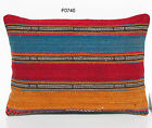 "20"" x 14"" MATCHING VINTAGE PERSIAN HANDWOVEN KILIM RUG PILLOW COVERS F0740-1"