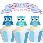 Blue Owl Baby Party EDIBLE wafer Cupcake Cake Toppers Standup PRECUT Cup Cake