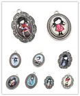 5pcs New Selling Glass Girls Patterns Vintage Silver Charms Alloy Oval Pendant L