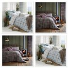 Catherine Lansfield Kelso Reversible Tartan Duvet Cover Heather  / Duck Egg